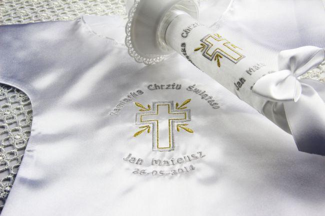 szatka i świeca na chrzest - Krzyżyk