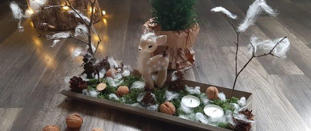 Dekoracje świąteczne – stroik na stół lub parapet w leśnym stylu
